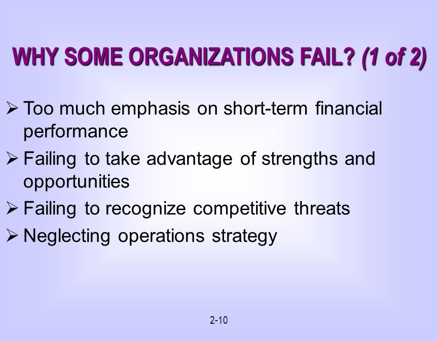 WHY SOME ORGANIZATIONS FAIL (1 of 2)