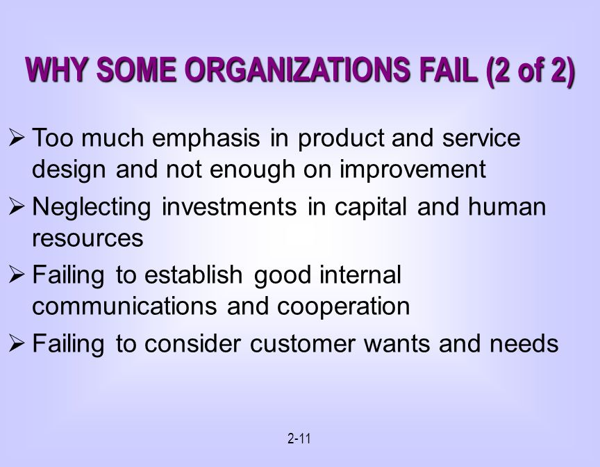 WHY SOME ORGANIZATIONS FAIL (2 of 2)