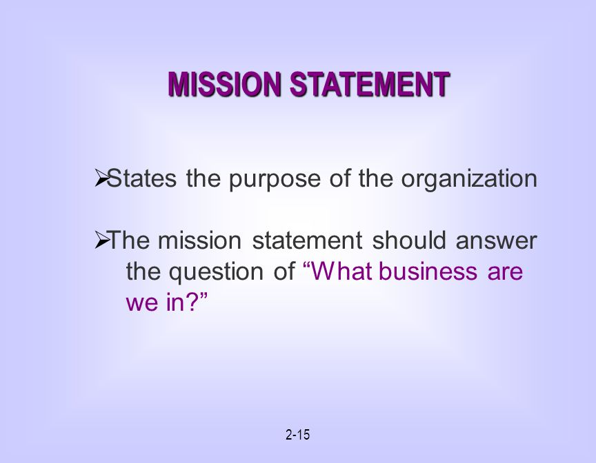 MISSION STATEMENT States the purpose of the organization