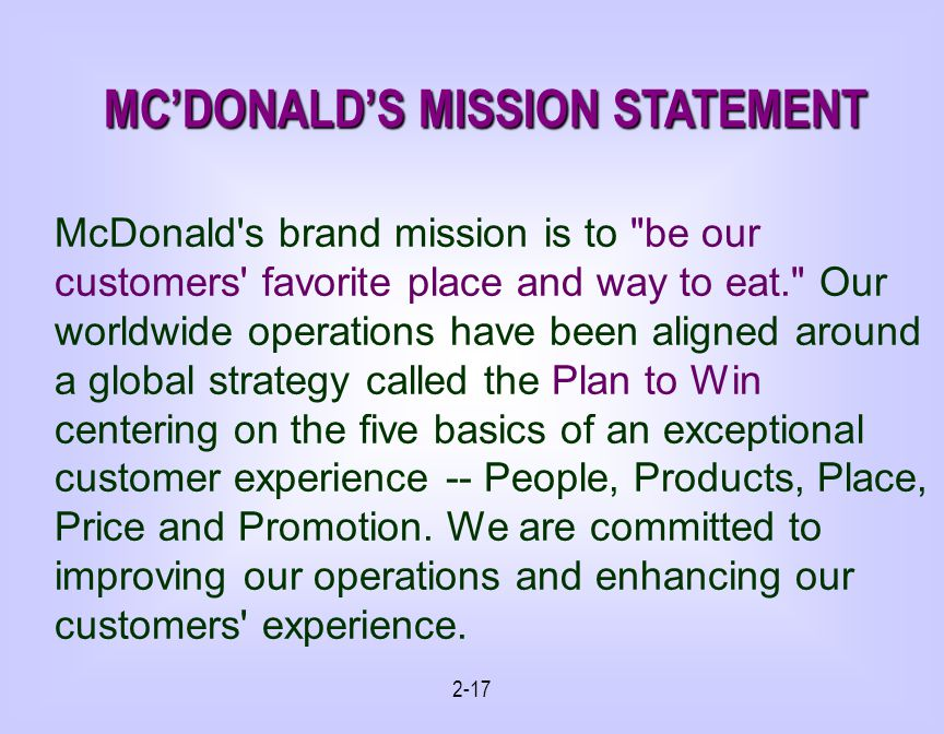 MC'DONALD'S MISSION STATEMENT