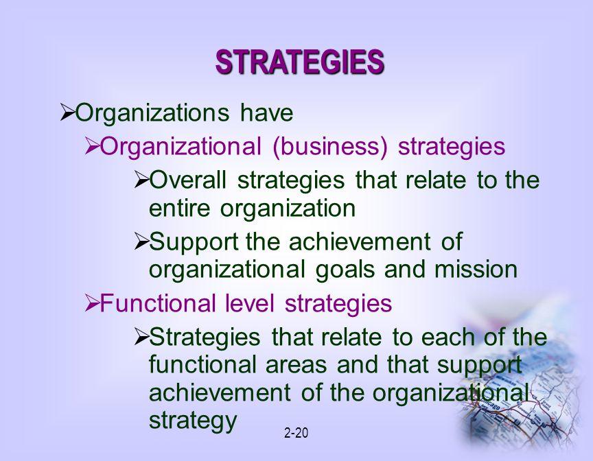 STRATEGIES Organizations have Organizational (business) strategies
