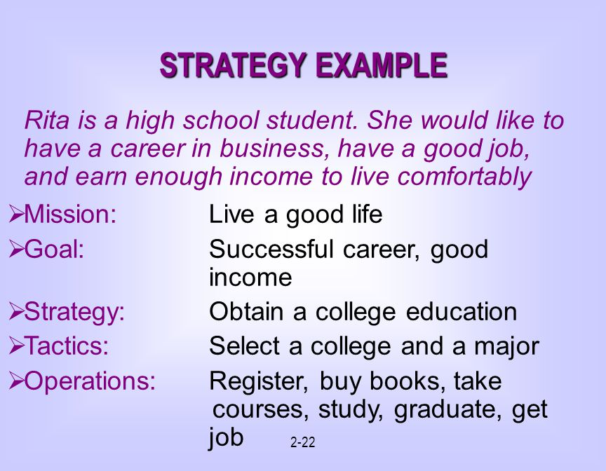 STRATEGY EXAMPLE Mission: Live a good life