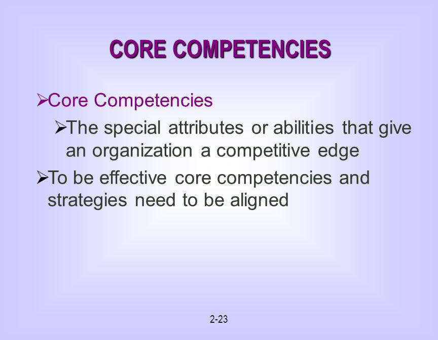 CORE COMPETENCIES Core Competencies