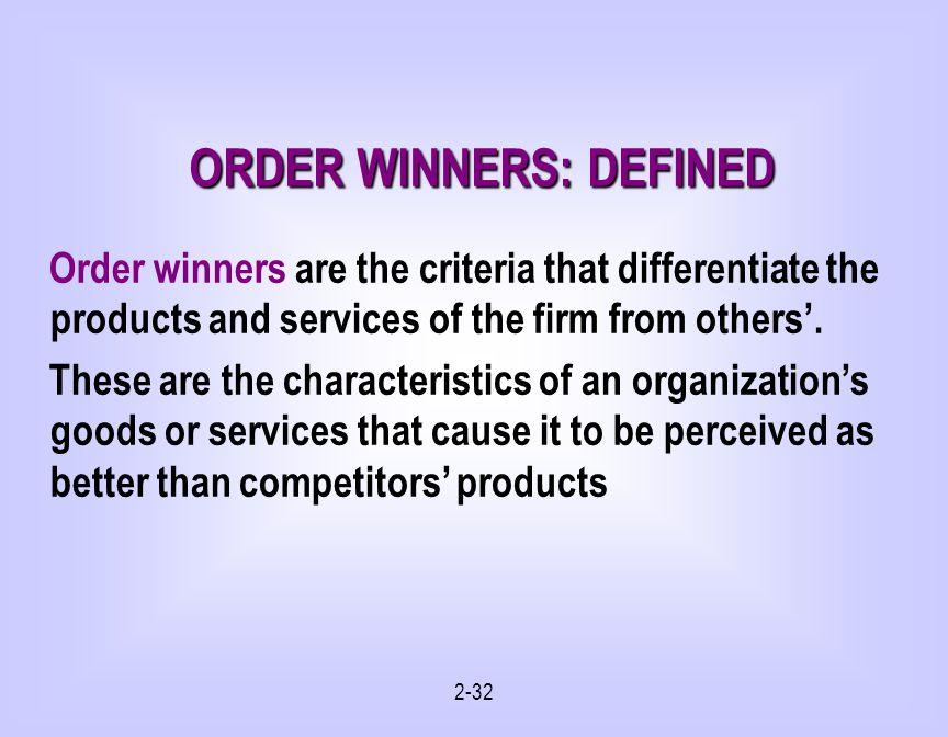 ORDER WINNERS: DEFINED