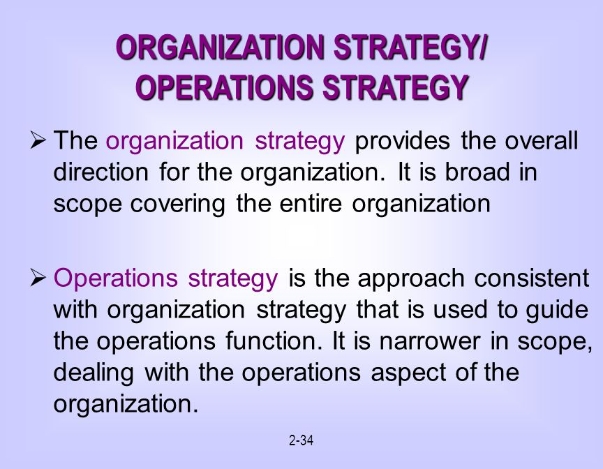 ORGANIZATION STRATEGY/ OPERATIONS STRATEGY