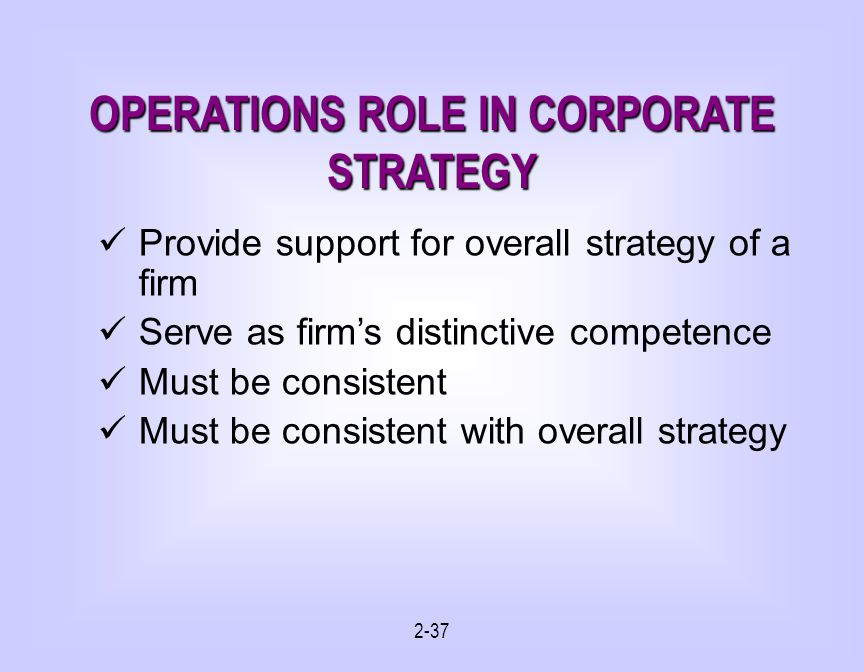OPERATIONS ROLE IN CORPORATE STRATEGY