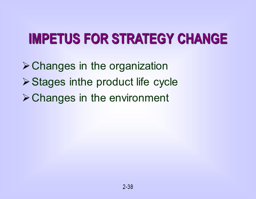 IMPETUS FOR STRATEGY CHANGE