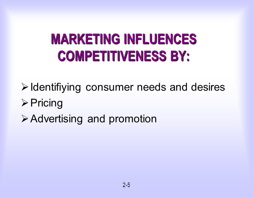 MARKETING INFLUENCES COMPETITIVENESS BY: