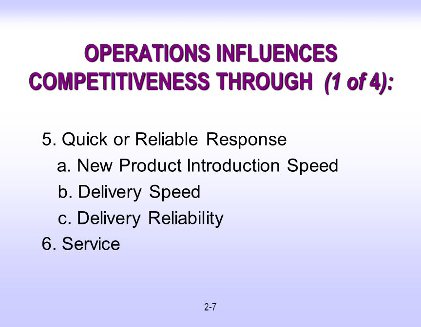 OPERATIONS INFLUENCES COMPETITIVENESS THROUGH (1 of 4):