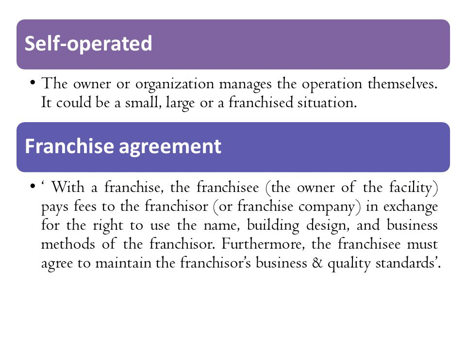 Self-operated Franchise agreement