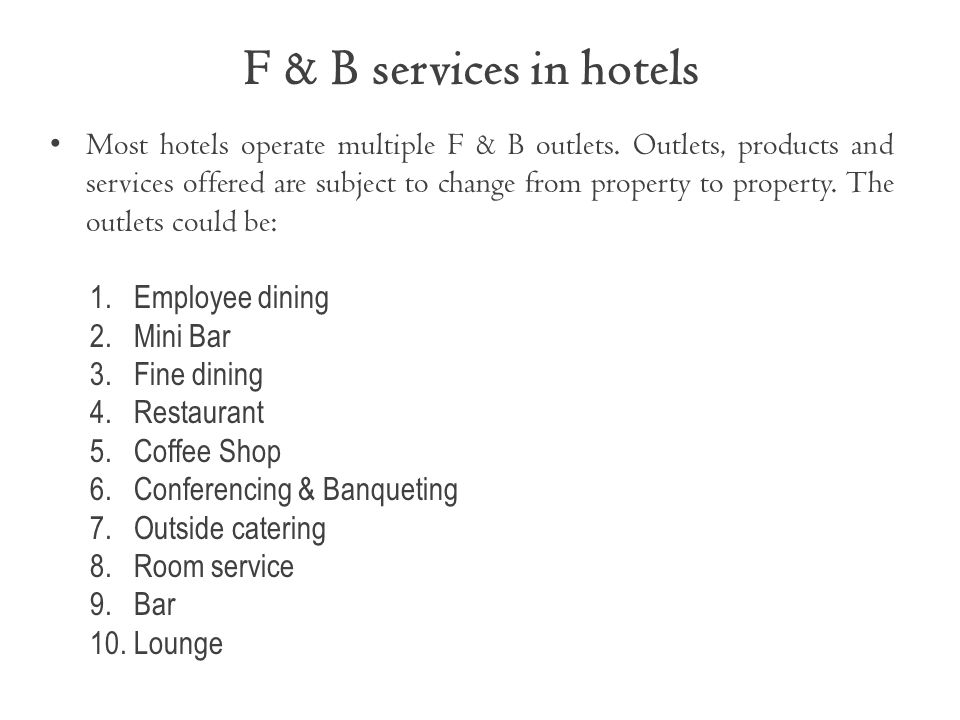 F & B services in hotels