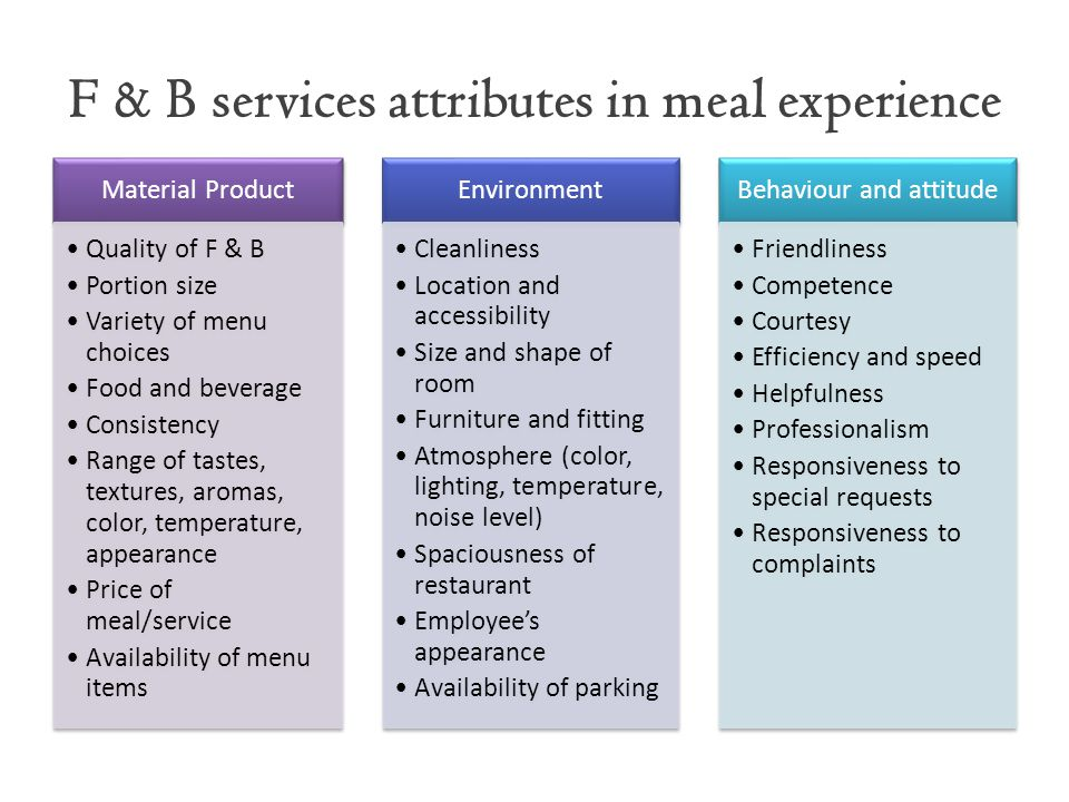 F & B services attributes in meal experience
