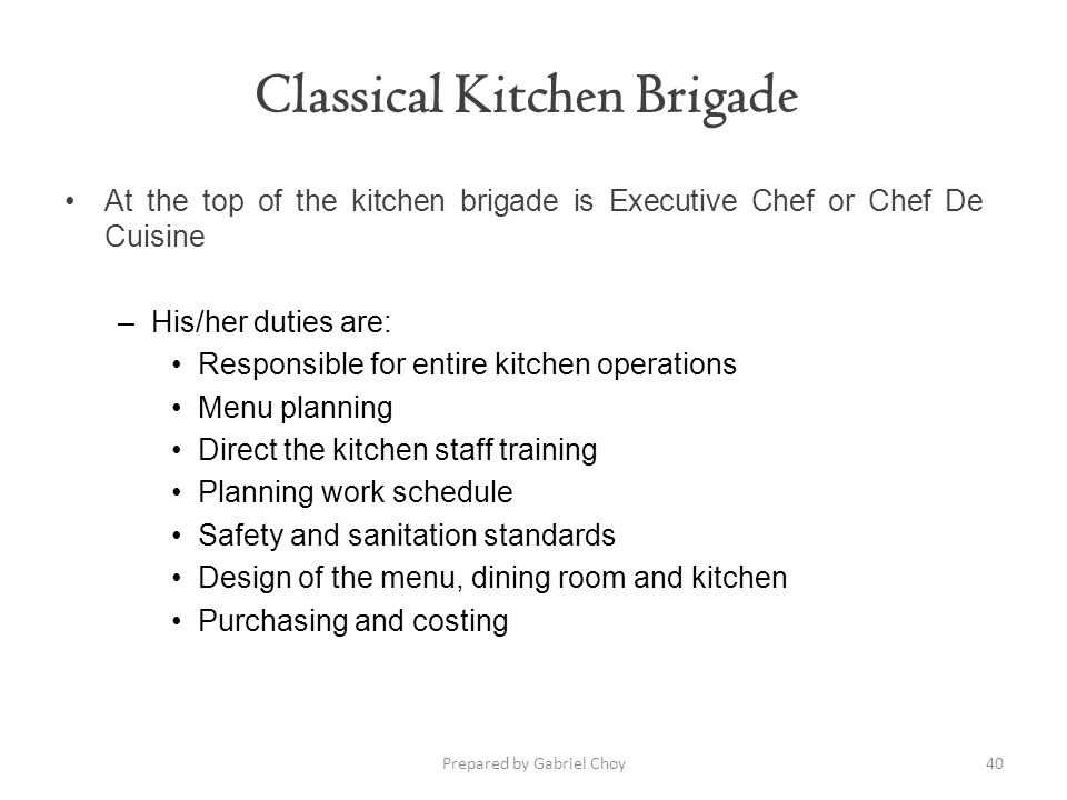 Classical Kitchen Brigade