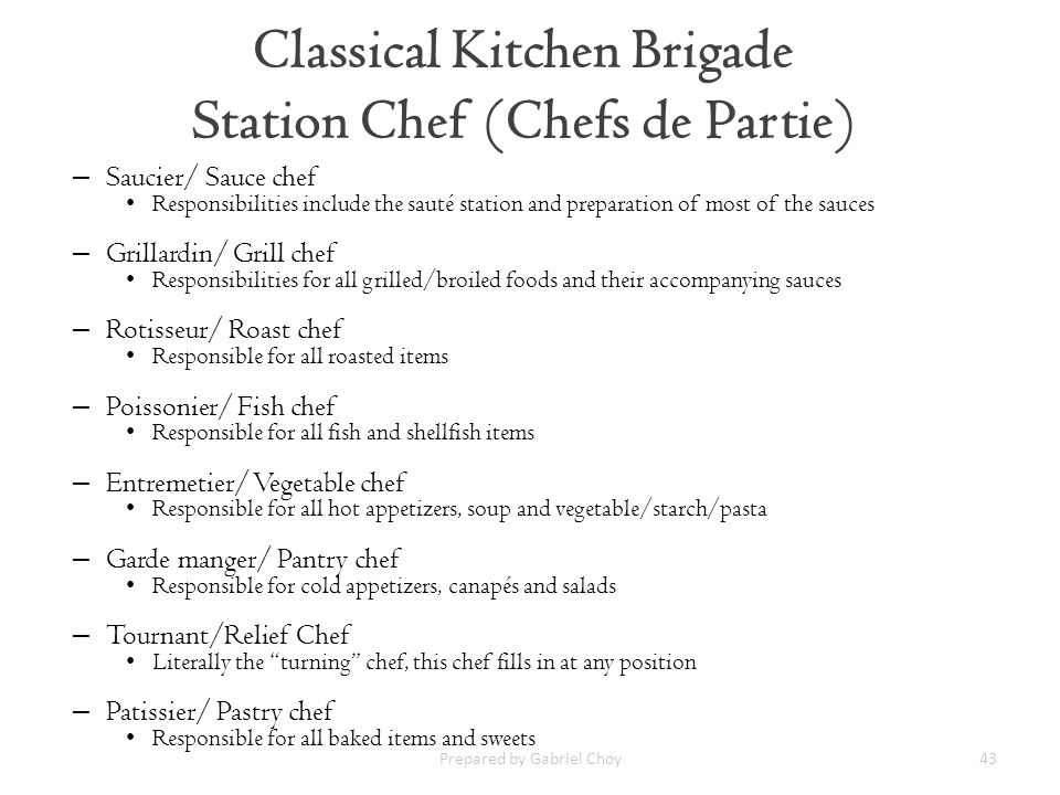Classical Kitchen Brigade Station Chef (Chefs de Partie)