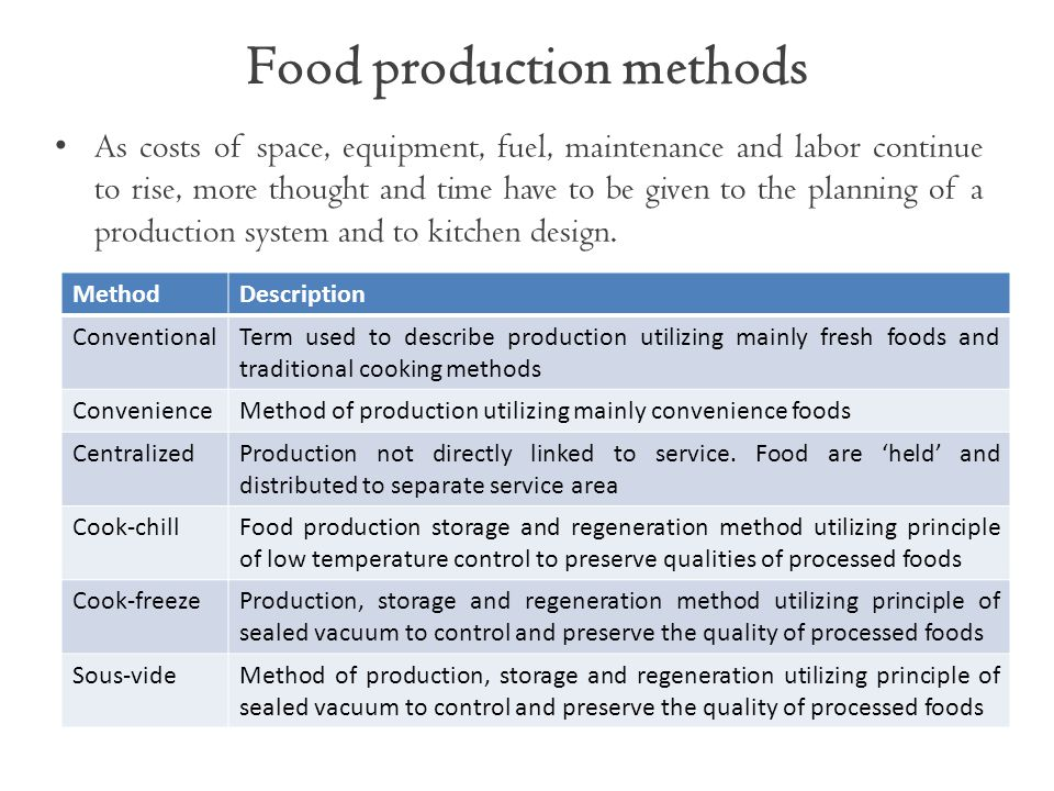Food production methods