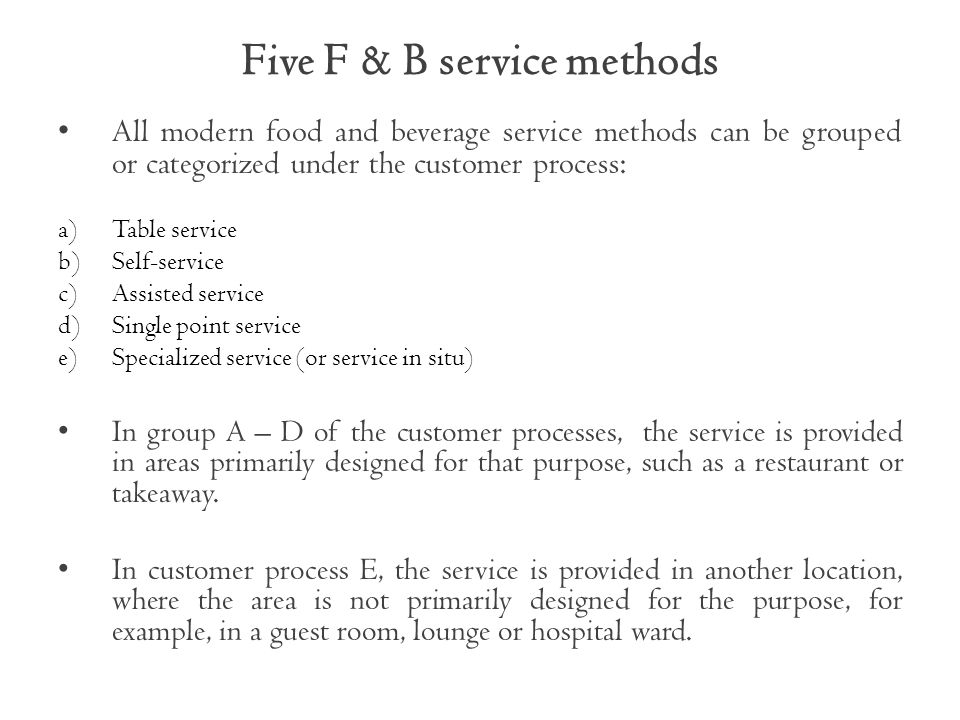 Five F & B service methods
