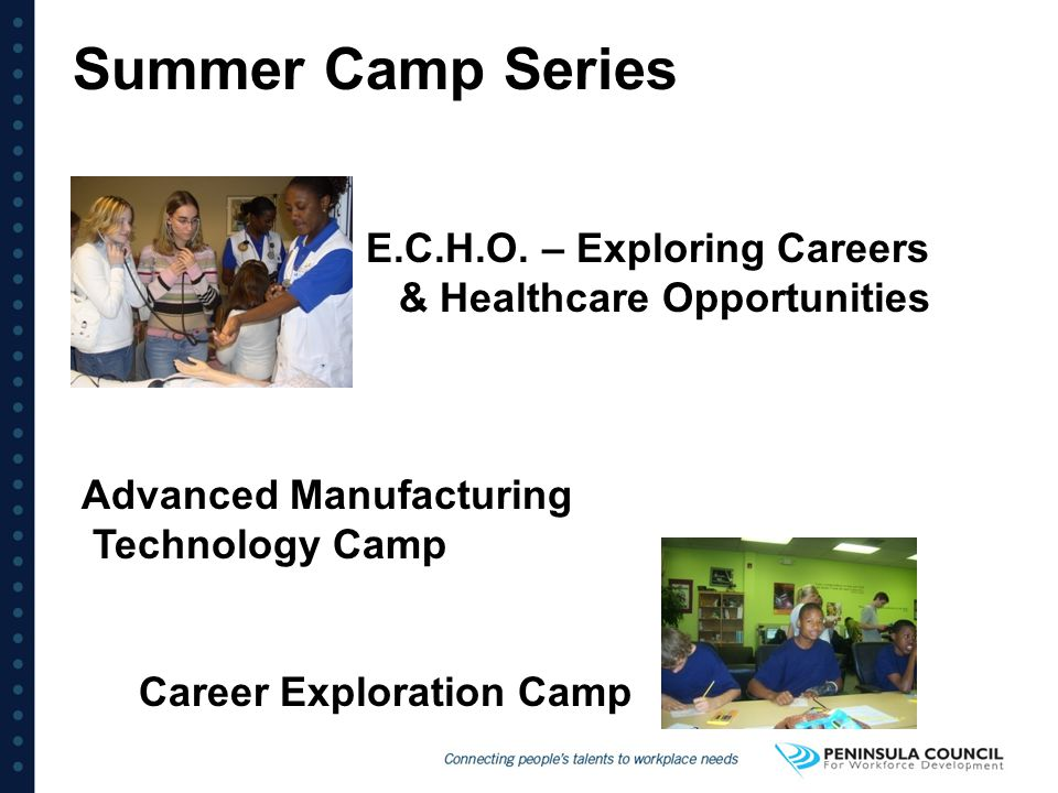 Summer Camp Series E.C.H.O. – Exploring Careers & Healthcare Opportunities. Advanced Manufacturing.