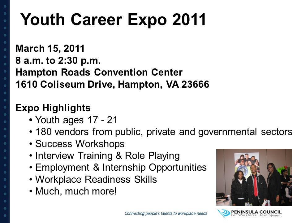 Youth Career Expo 2011 March 15, 2011 8 a.m. to 2:30 p.m. Hampton Roads Convention Center 1610 Coliseum Drive, Hampton, VA 23666.