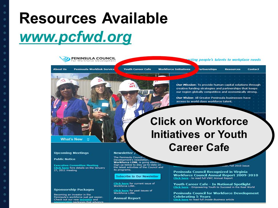 Click on Workforce Initiatives or Youth Career Cafe