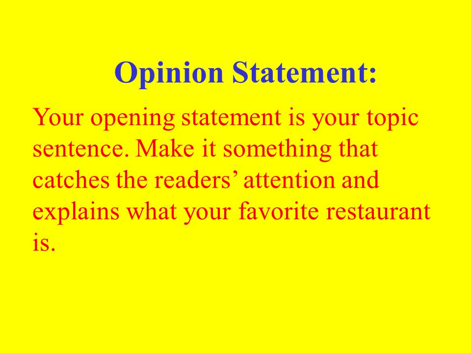 Opinion Statement: