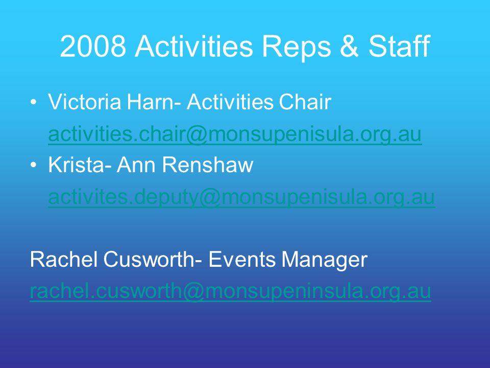 2008 Activities Reps & Staff
