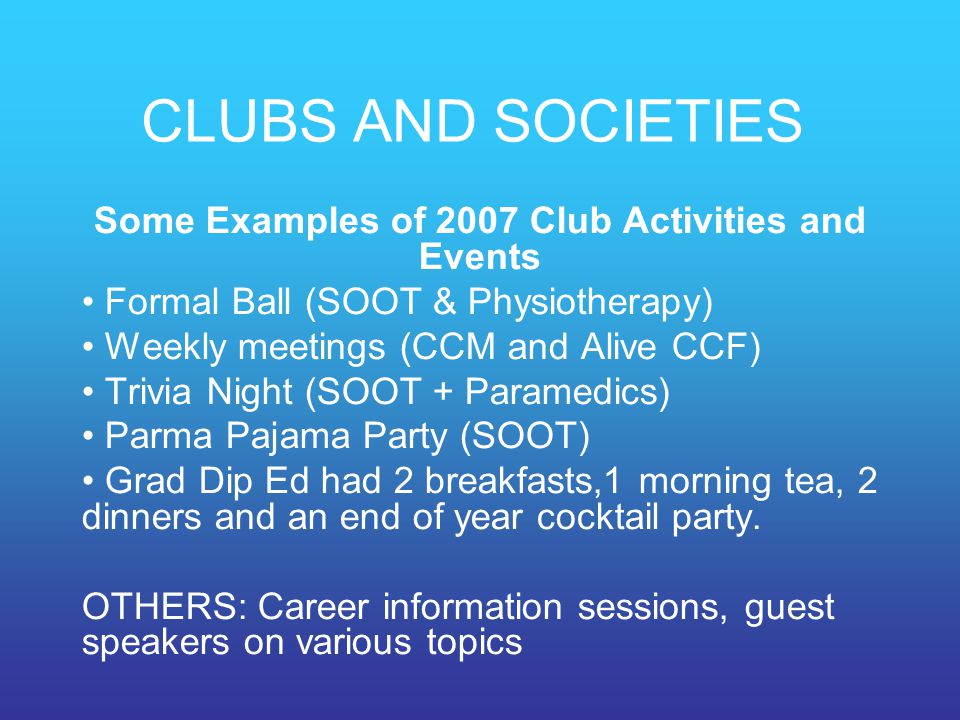 Some Examples of 2007 Club Activities and Events
