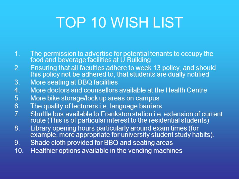 TOP 10 WISH LIST The permission to advertise for potential tenants to occupy the food and beverage facilities at U Building.