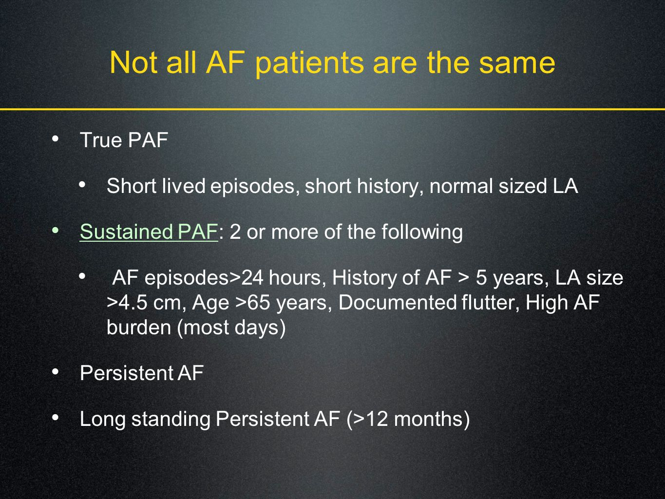 Not all AF patients are the same