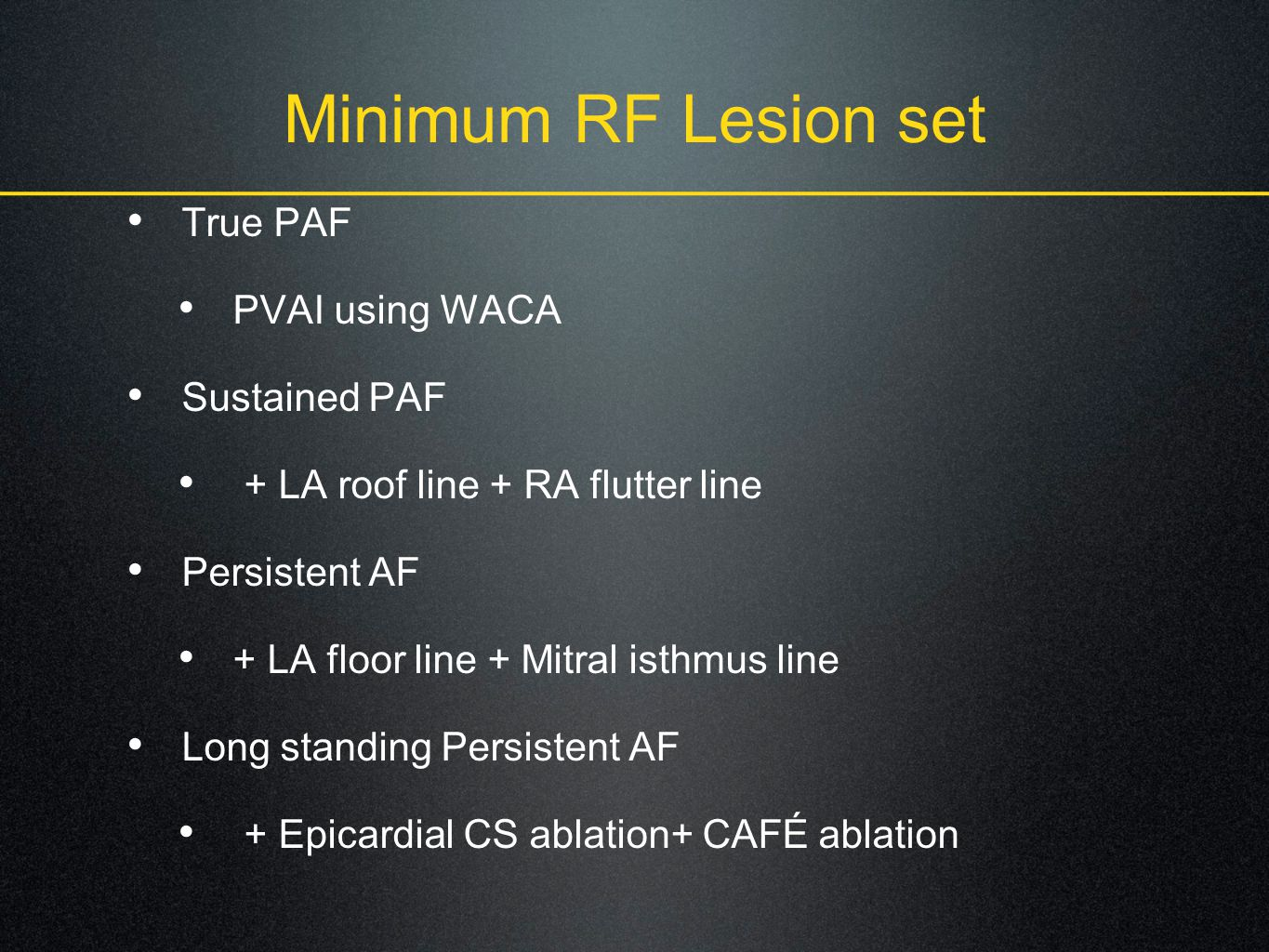 Minimum RF Lesion set True PAF PVAI using WACA Sustained PAF