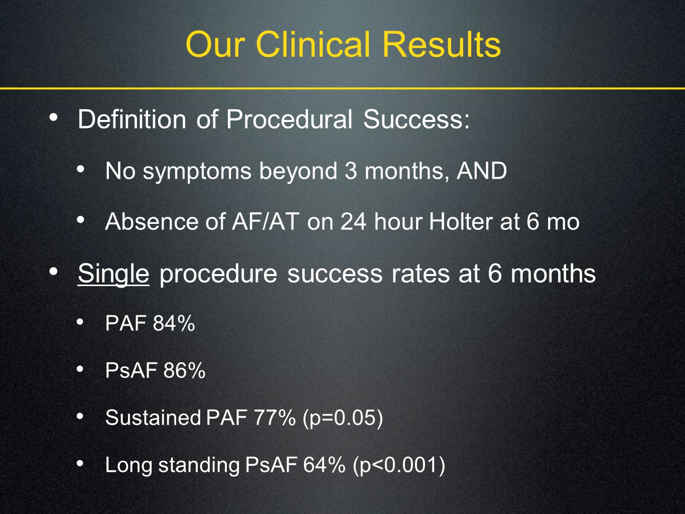 Our Clinical Results Definition of Procedural Success: