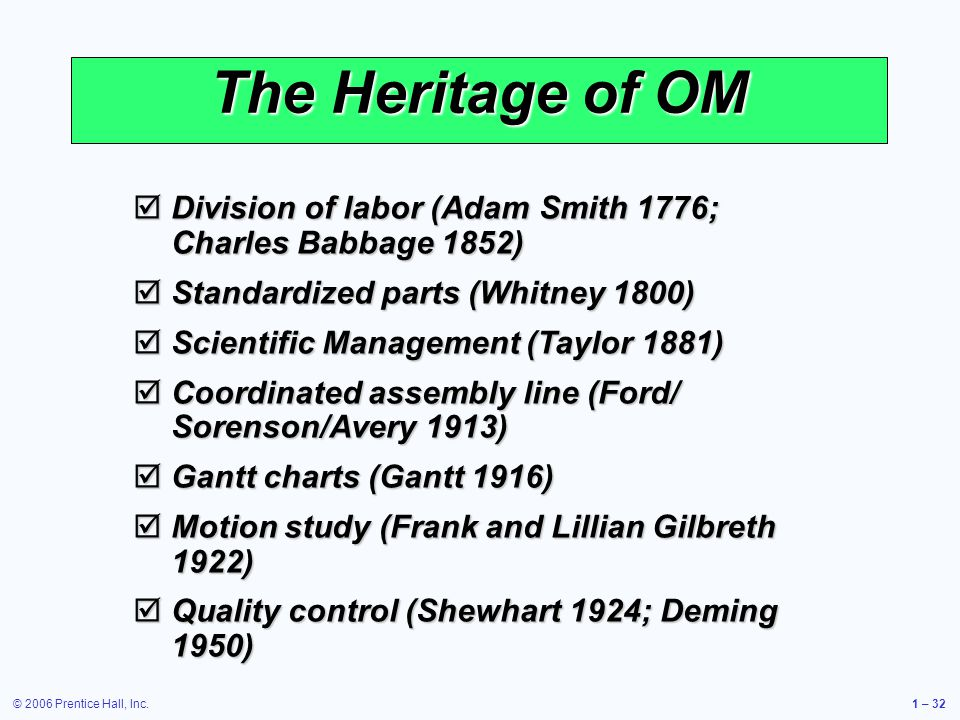 The Heritage of OM Division of labor (Adam Smith 1776; Charles Babbage 1852) Standardized parts (Whitney 1800)