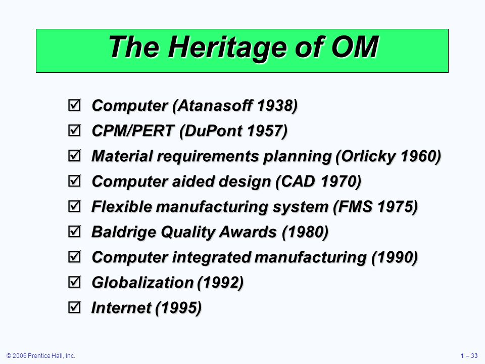 The Heritage of OM Computer (Atanasoff 1938) CPM/PERT (DuPont 1957)