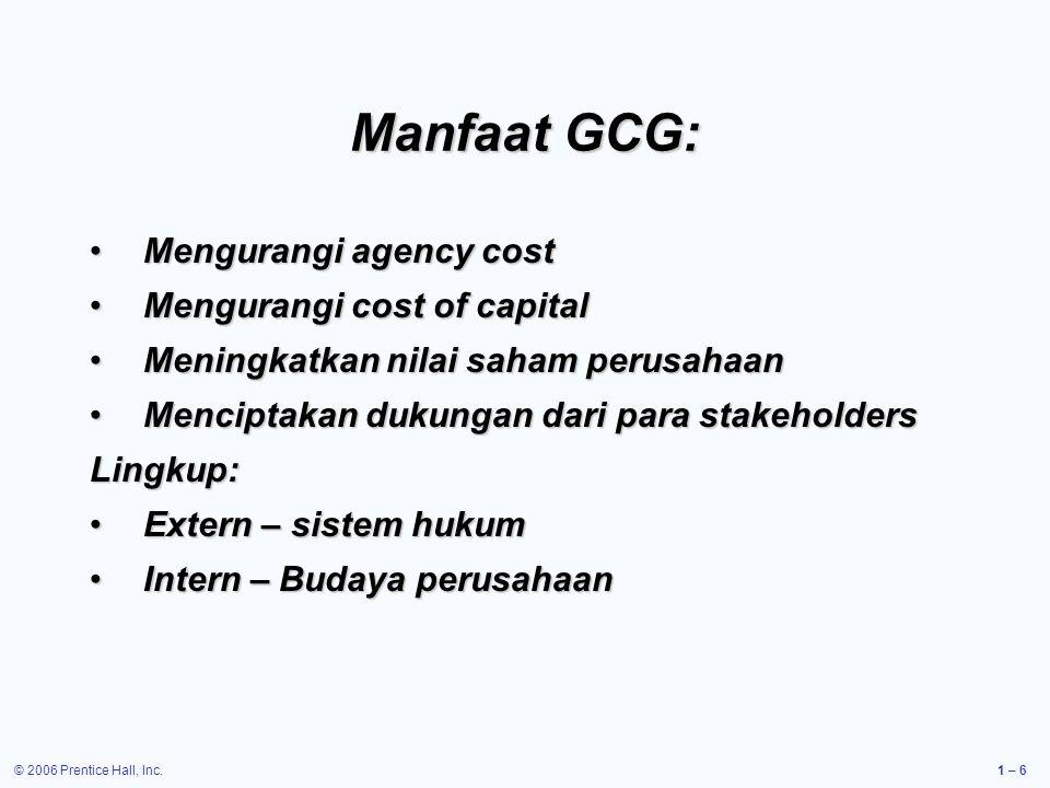 Manfaat GCG: Mengurangi agency cost Mengurangi cost of capital