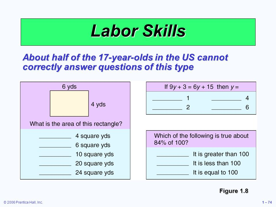 Labor Skills About half of the 17-year-olds in the US cannot correctly answer questions of this type.