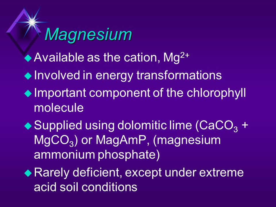 Magnesium Available as the cation, Mg2+