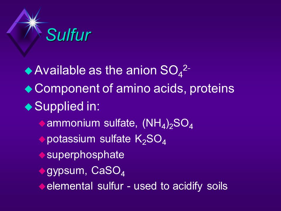 Sulfur Available as the anion SO42- Component of amino acids, proteins