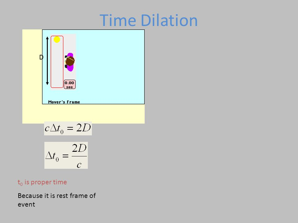 Time Dilation D t0 is proper time Because it is rest frame of event