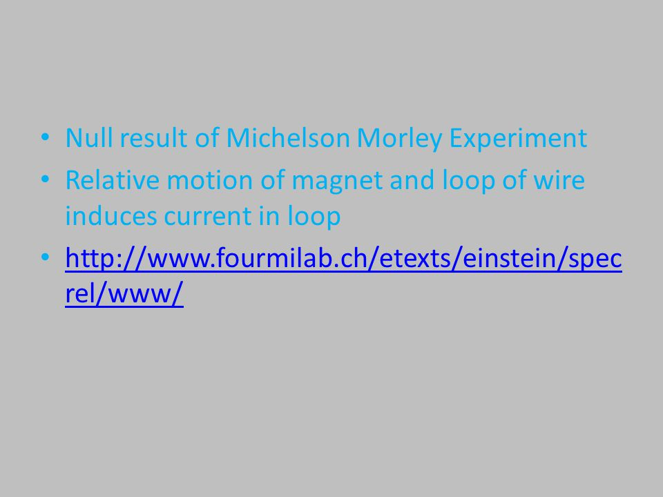 Null result of Michelson Morley Experiment