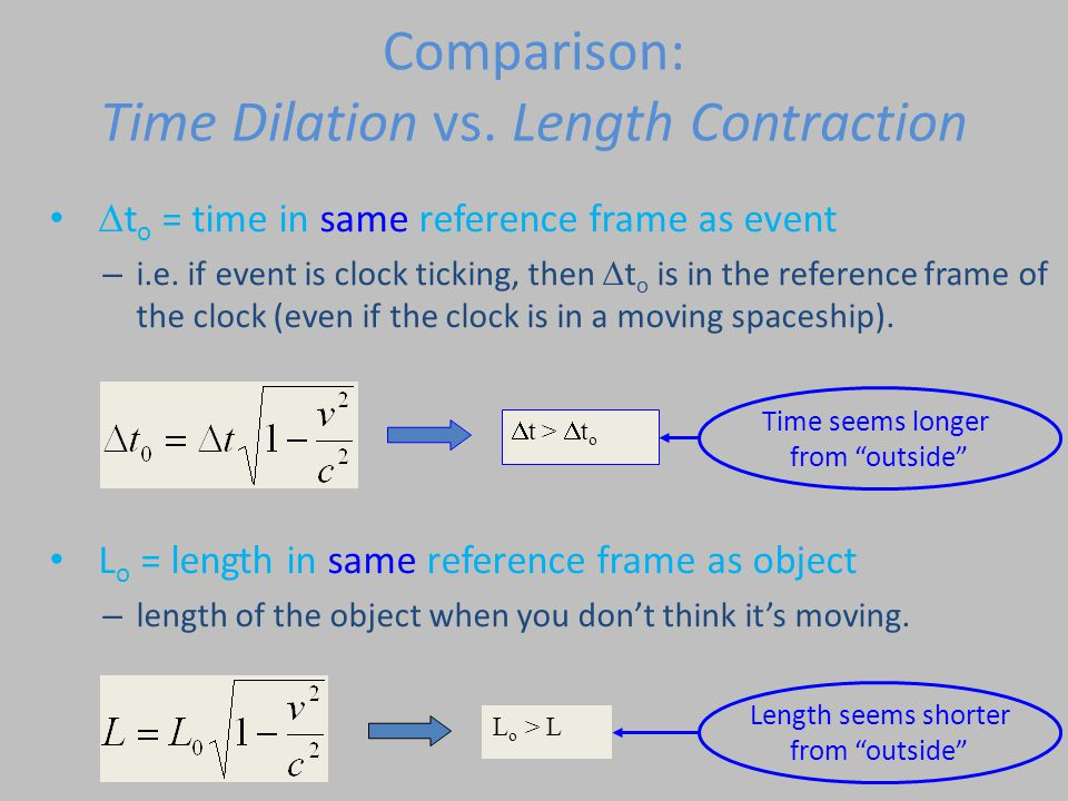 Comparison: Time Dilation vs. Length Contraction