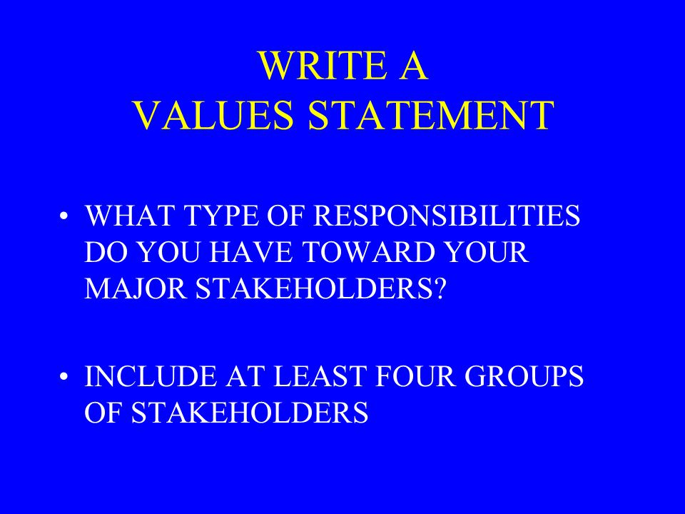 WRITE A VALUES STATEMENT
