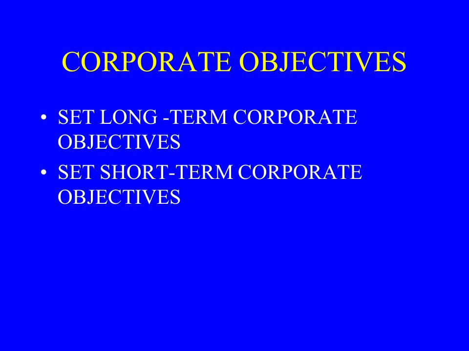 CORPORATE OBJECTIVES SET LONG -TERM CORPORATE OBJECTIVES