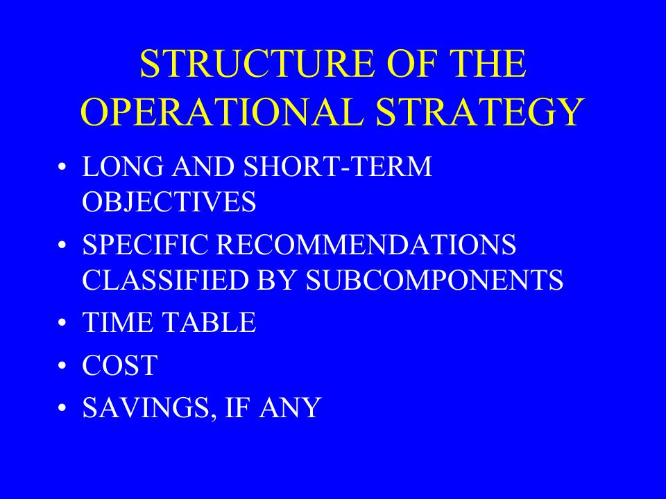 STRUCTURE OF THE OPERATIONAL STRATEGY