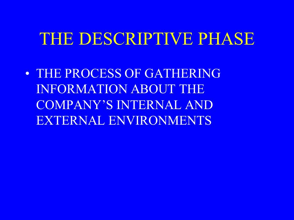 THE DESCRIPTIVE PHASE THE PROCESS OF GATHERING INFORMATION ABOUT THE COMPANY'S INTERNAL AND EXTERNAL ENVIRONMENTS.