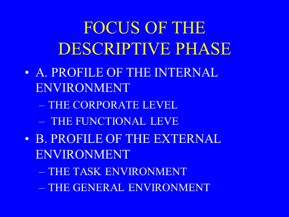 FOCUS OF THE DESCRIPTIVE PHASE