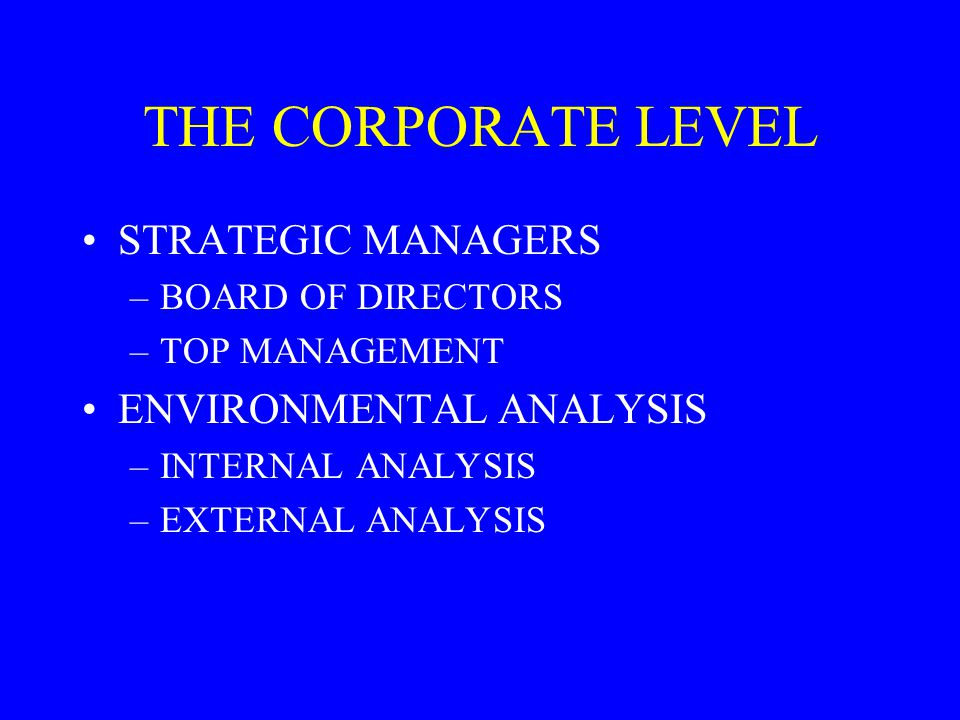 THE CORPORATE LEVEL STRATEGIC MANAGERS ENVIRONMENTAL ANALYSIS
