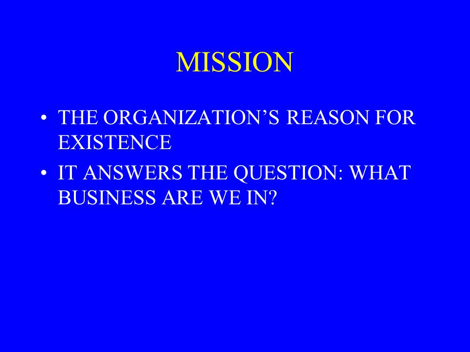 MISSION THE ORGANIZATION'S REASON FOR EXISTENCE