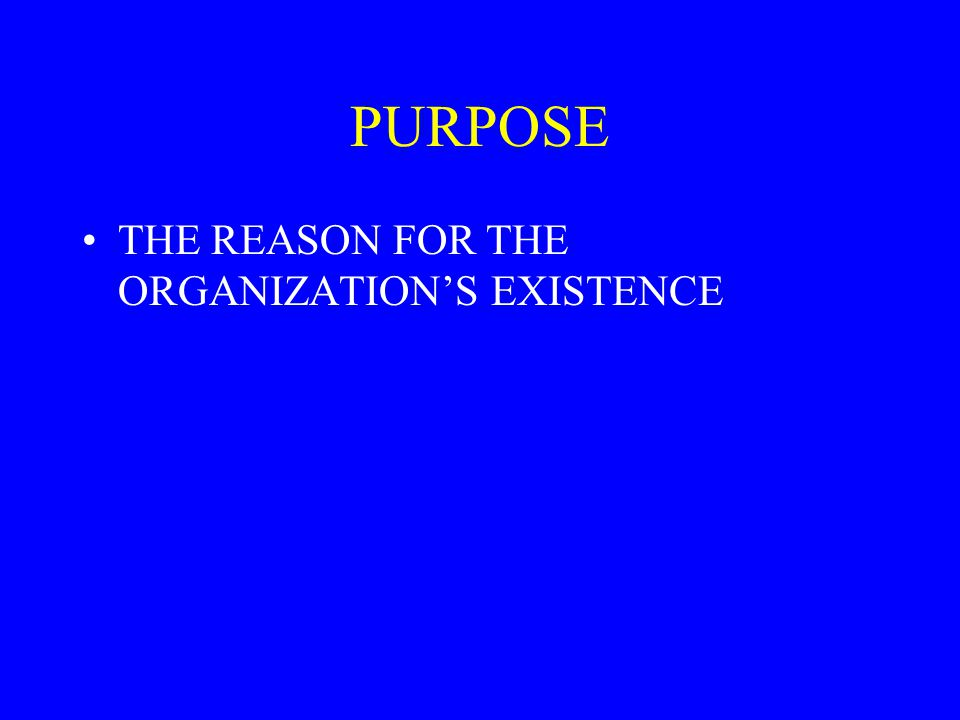 PURPOSE THE REASON FOR THE ORGANIZATION'S EXISTENCE