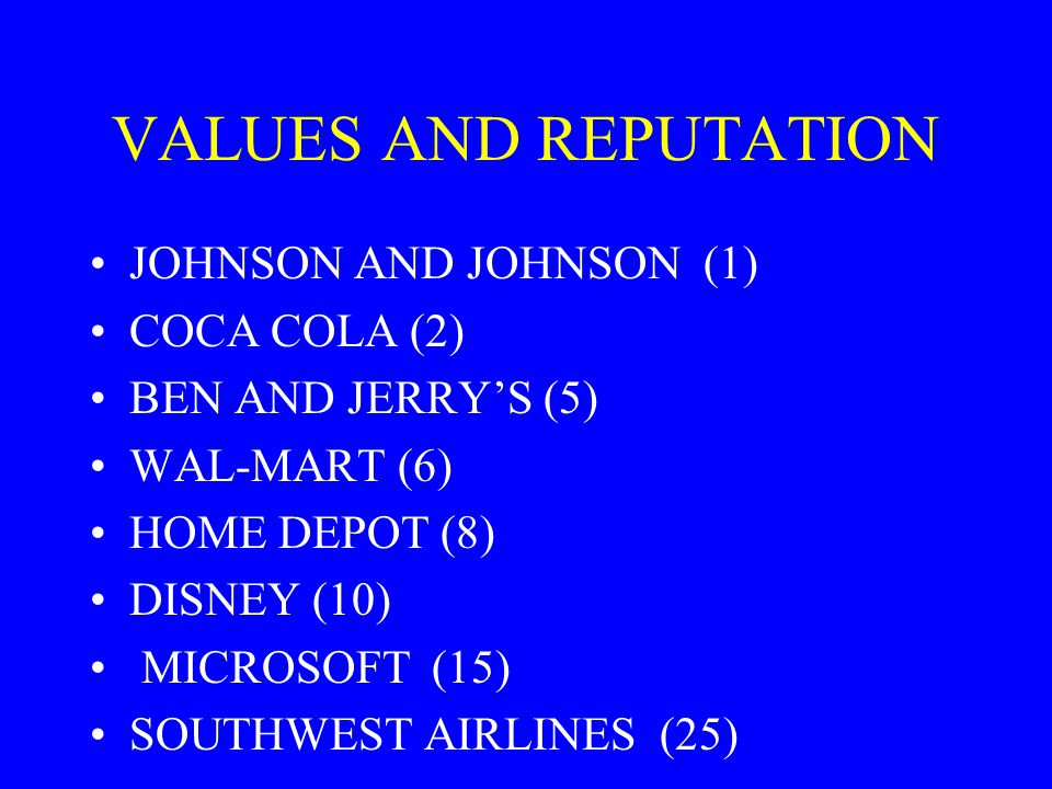 VALUES AND REPUTATION JOHNSON AND JOHNSON (1) COCA COLA (2)