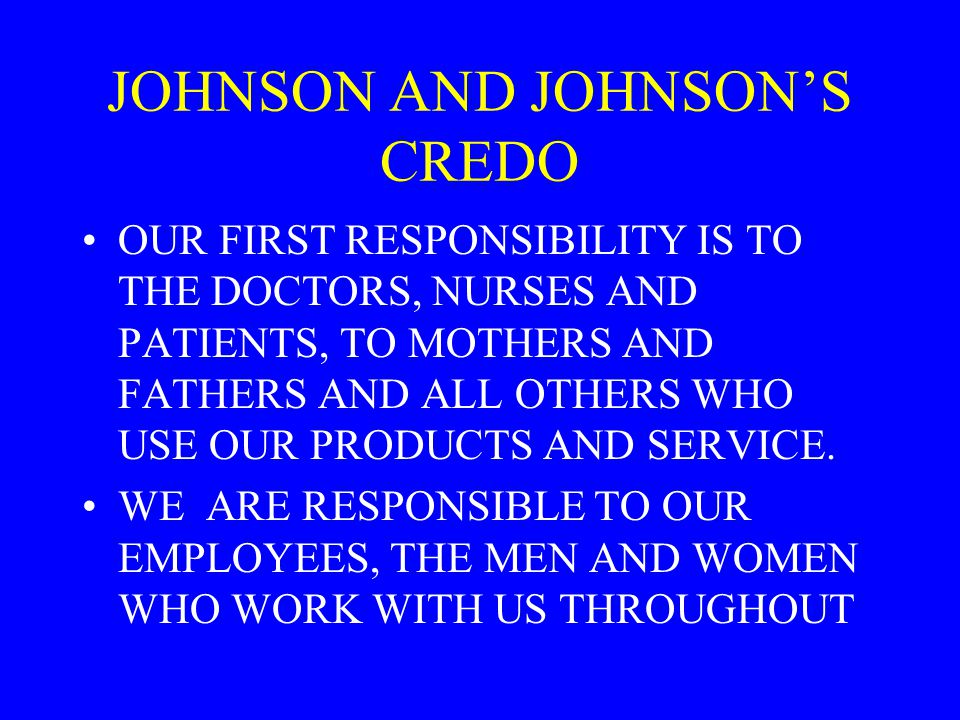 JOHNSON AND JOHNSON'S CREDO