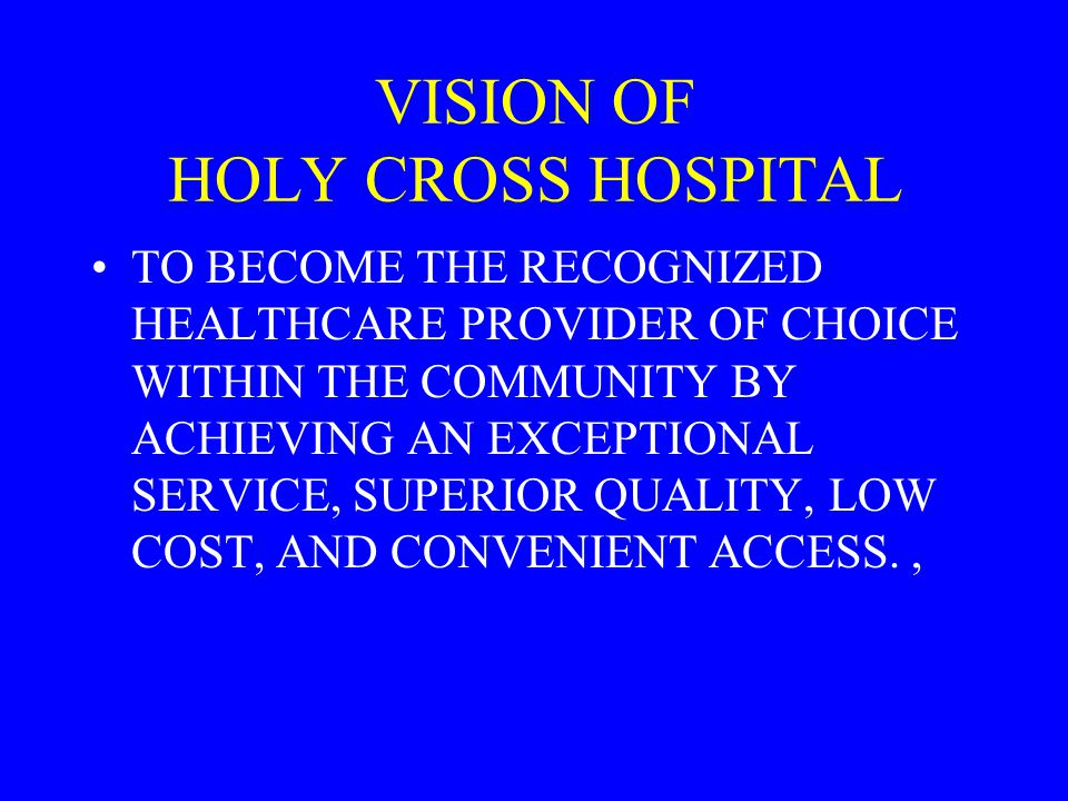VISION OF HOLY CROSS HOSPITAL